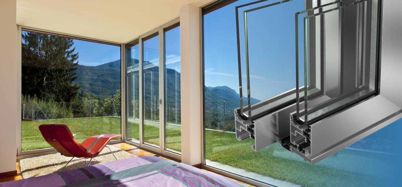 Serramenti in alluminio infissi finestre - visual01 serramento in alluminio e sezione